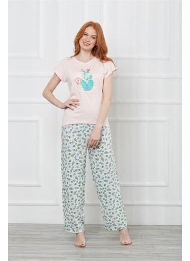 Obje Kısa Kol Pijama Takım Renkli